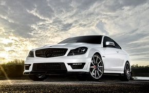 Picture White, Machine, Tuning, Mercedes, Desktop, Mercedes, Benz, Car, 2012, Car, Beautiful, Vorsteiner, AMG, Coupe, White, ...