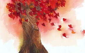 Picture leaves, love, tree, heart