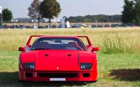 Picture Red, Auto, Machine, Ferrari, Ferrari, F40, Lights, Supercar, Supercar, The front, Ferrari F40, F 40, …