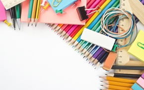 Wallpaper pencils, white background, handle, colorful, clip, eraser, accessories, stationery, school, line