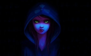 Picture look, girl, face, piercing, art, hood, black background