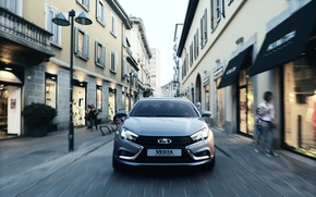 Picture road, the city, car, sedan, silver, Lada, Lada, Vesta, Vesta, 2180