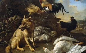 Picture animals, picture, genre, Melchior de Hondekuter, Still life with Fox and Killed her Goose