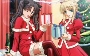 Picture girls, new year, gifts, tree, the snow maiden, Fate Stay Night