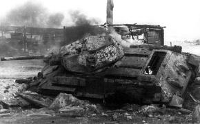 Wallpaper fire, war, tank, T-34