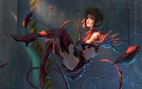 Picture girl, fiction, figure, gate, door, art, tentacles, armor, art, sci-fi, gateway, levitation, soars, bunker, by …