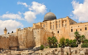 Wallpaper the sky, the sun, clouds, stones, palm trees, temple, architecture, Palace, Israel, Jerusalem