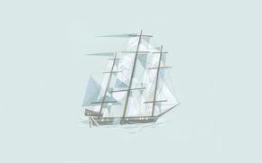 Wallpaper line, figure, ship, minimalism, illustration, cubism