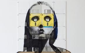 Picture eyes, look, girl, style, paint, portrait, art, floppy, floppy art, Nick Gentry, Nick Gentry, floppy-art