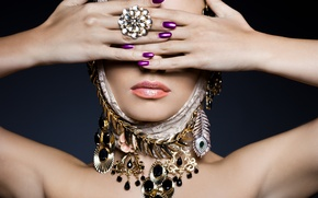 Picture woman, rings, jewelry