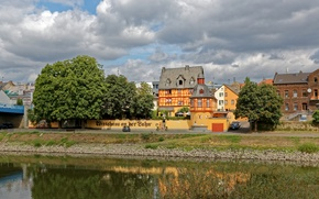 Wallpaper Germany, river, home, trees, shore, Lahnstein, clouds