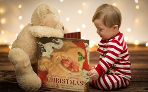 Picture toy, child, New Year, Christmas, bear, book, Christmas, New Year, Xmas, Merry