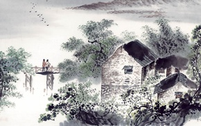 Picture landscape, art, house, two, the bridge