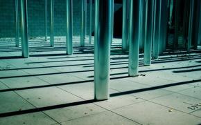 Wallpaper posts, metal, shadows, leaves