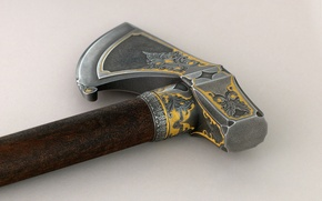 Picture axe, metal, gun, weapon, wood, blade, medieval weapon, handmade, wrought metal, antique weapon