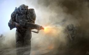 Wallpaper pearls, armor, Fallout 4, soldier, gun