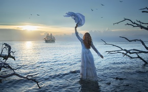 Picture sea, girl, sunset, ship