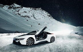Picture BMW, Sky, Front, Mountain, Snow, White, Ligth, Nigth