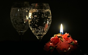 Picture reflection, glass, candle, champagne