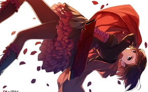 Picture girl, anime, art, white background, caidychen, rwby, upscale, ruby rose