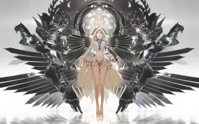 Picture girl, wings, anime, art, horns, ajahweea