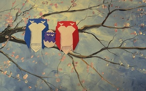 Picture branch, stems, owls, origami, origami, branches, owls, stalks, owl family, owl family