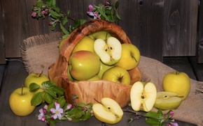 Picture flowers, basket, apples, fruit