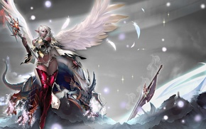 Picture girl, magic, wings, monster, sword, staff, Lineage, armor, Dark Elf