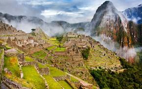 Wallpaper mountains, the city, fog, the slopes, ruins, Peru, Machu Picchu