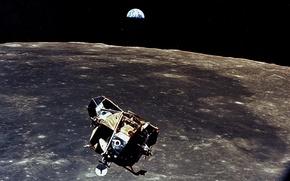 Wallpaper the moon, earth, Apollo 11, ship