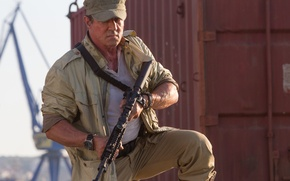 Picture weapons, machine, cap, Sylvester Stallone, Sylvester Stallone, Barney Ross, The Expendables 3, The expendables 3