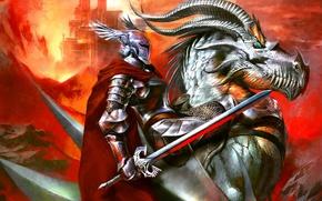 Picture dragon, sword, armor, Knight, top