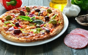 Picture greens, mushrooms, oil, pepper, pizza, garlic, filling