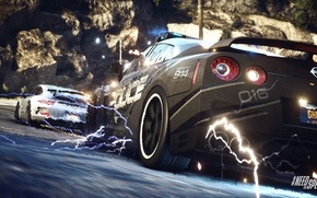 Picture Porsche, Police, Interceptor, Pursuit, Nissan GTR, NFS Rivals Wallpaper, EMP