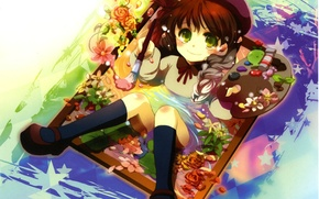 Picture flowers, smile, paint, frame, picture, Girl, palette, brush, stars, takes, big eyes