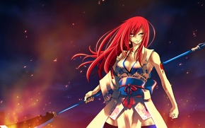 Wallpaper look, girl, fire, flame, anime, tattoo, spear, yukata, tale of fairy tail, Ezra Scarlet, Fairy ...
