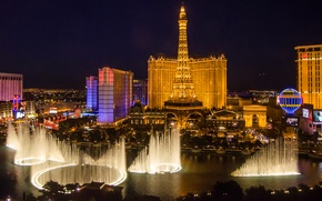Picture the sky, lights, tower, home, the evening, Las Vegas, fountain, USA, Nevada, casino