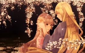 Picture girl, night, branches, Sakura, Guy, date, flowering, long hair