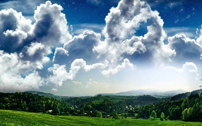 Wallpaper the sky, field, village, trees, grass, clouds