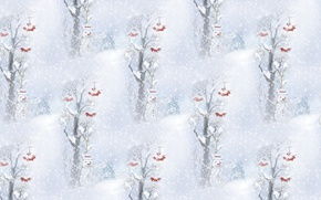 Picture winter, snow, background, holiday, texture, New year, snowman, snowfall, Ryabinka