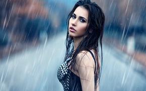Wallpaper rain, makeup, Alessandro Di Cicco, Under the rain