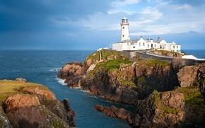 Picture sea, the sky, clouds, rocks, shore, lighthouse, horizon, Ireland, Fanad Head Lighthouse