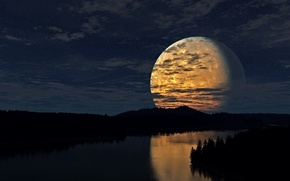 Picture Moon, Sky, Night, River, Trees