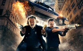 Picture wallpapers, hd wallpaper, movies, Universal, smoke, Pictures, Nick, R.I.P.D., car, gun, fly, sky, Shooting, men, ...