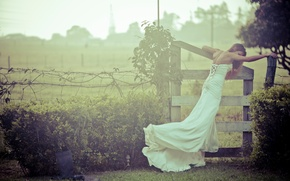 Wallpaper the bride, the fence, girl, wedding dress, nature, wedding, bride