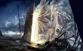 Wallpaper posts, weapons, skeleton, wire, wings, art, angel, the door, arch Lich, anime, girl, sword, the ...