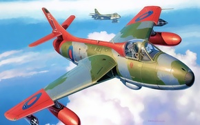 Picture aircraft, war, airplane, aviation, dogfight, hawker hunter