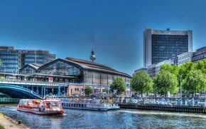 Picture bridge, the city, river, HDR, home, Germany, boats, Berlin