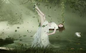 Picture Swan, Leaves, Dress, Swing