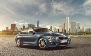 Picture skyscrapers, F30, BMW, 3 Series, the city, Sedan, BMW, Joshua Stretched